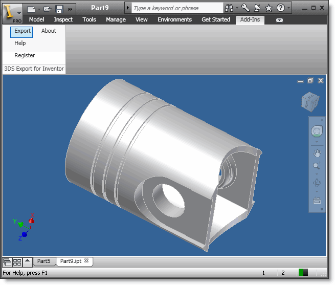 3DS Export for Inventor Screenshot 1