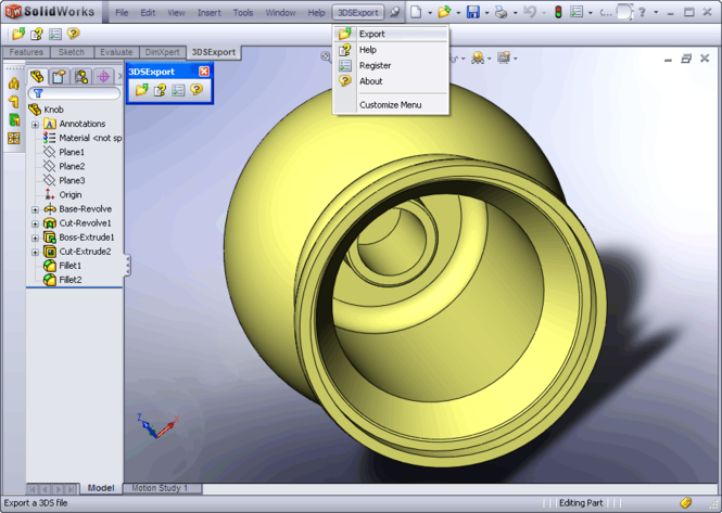 3DS Export for SolidWorks Screenshot