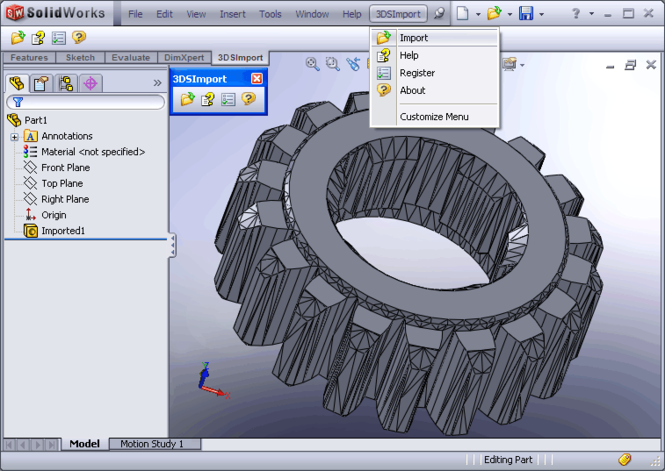 3DS Import for SolidWorks Screenshot