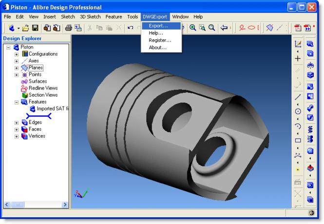 DWG Export for Alibre Design Screenshot