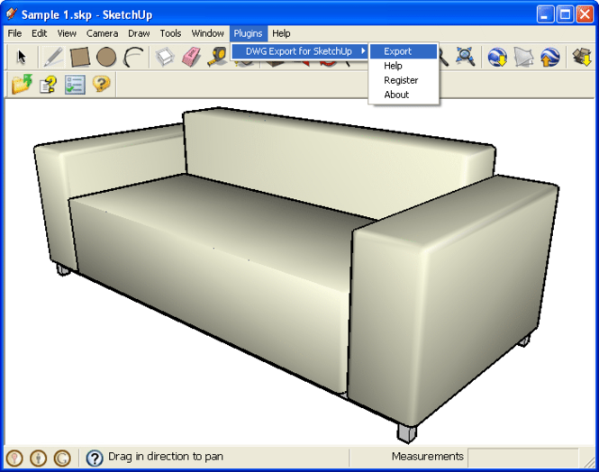 DWG Export for SketchUp Screenshot