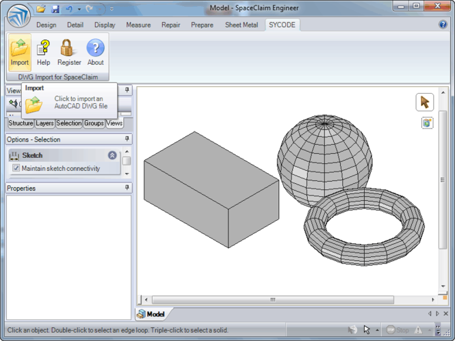 DWG Import for SpaceClaim Screenshot 1