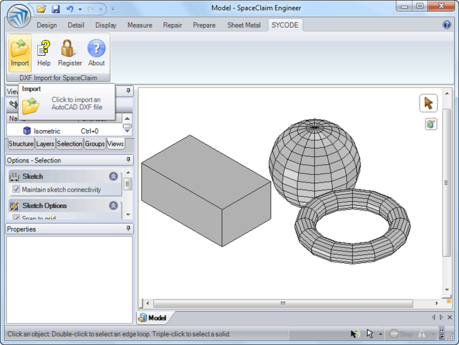 DXF Import for SpaceClaim Screenshot