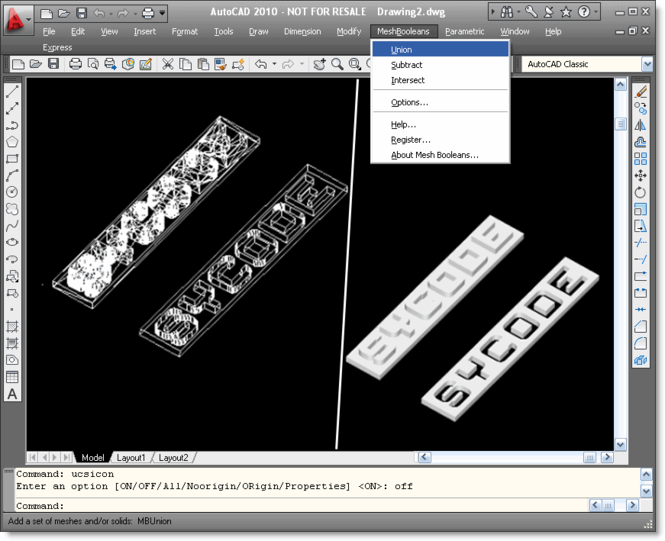 Mesh Booleans for AutoCAD Screenshot 1