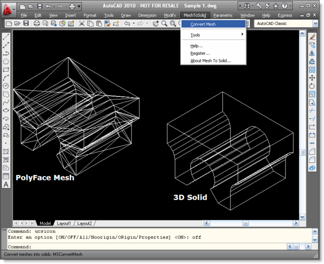 Mesh To Solid for AutoCAD Screenshot