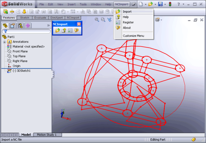 NC Import for SolidWorks Screenshot