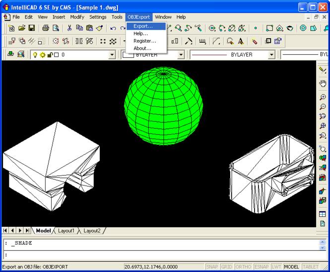 OBJ Export for IntelliCAD Screenshot