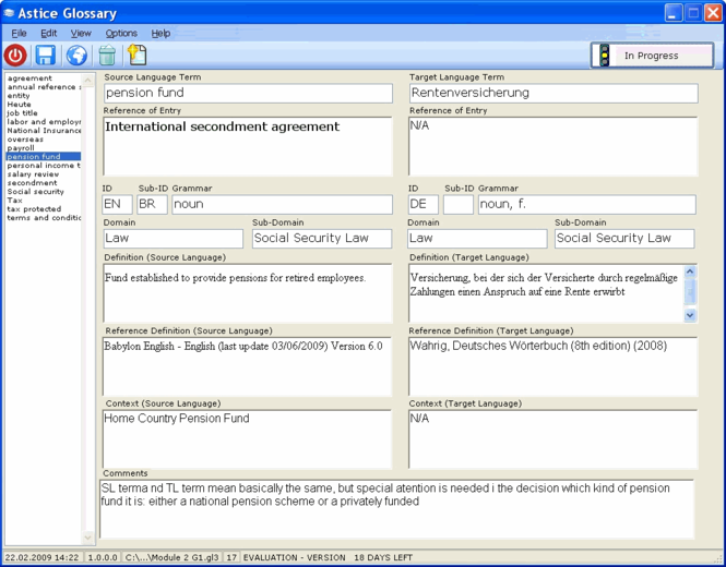 Astice Glossary Screenshot