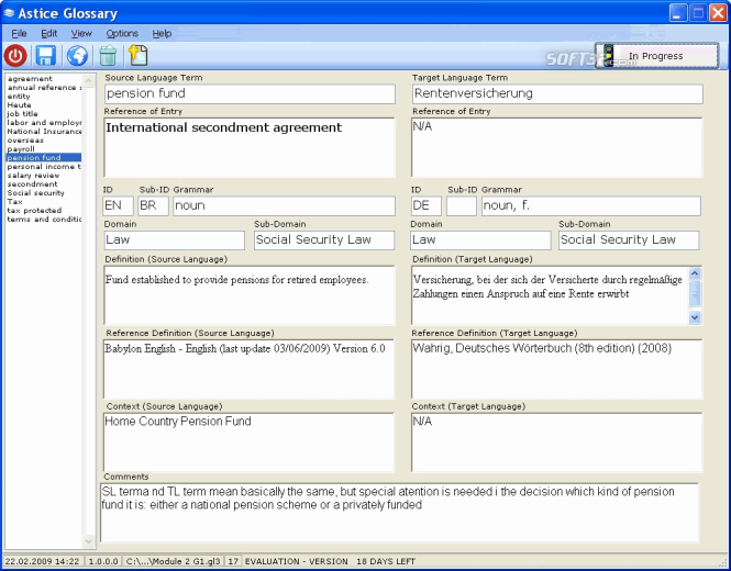Astice Glossary Screenshot 2