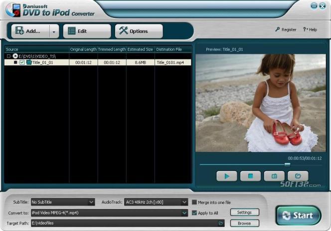 Daniusoft DVD to iPod Converter Screenshot