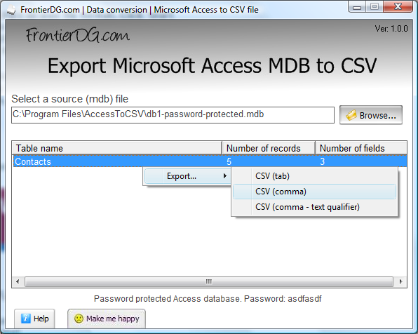 Export Microsoft Access MDB to CSV Screenshot