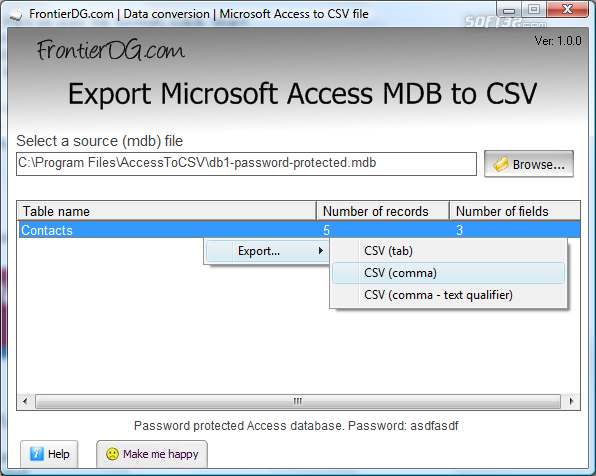 Export Microsoft Access MDB to CSV Screenshot 2