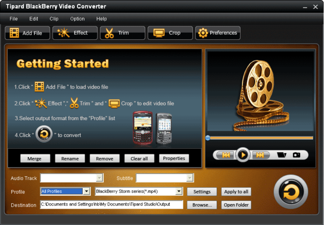 Tipard BlackBerry Video Converter Screenshot 3