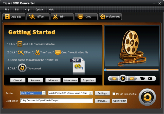 Tipard 3GP Converter Screenshot 1