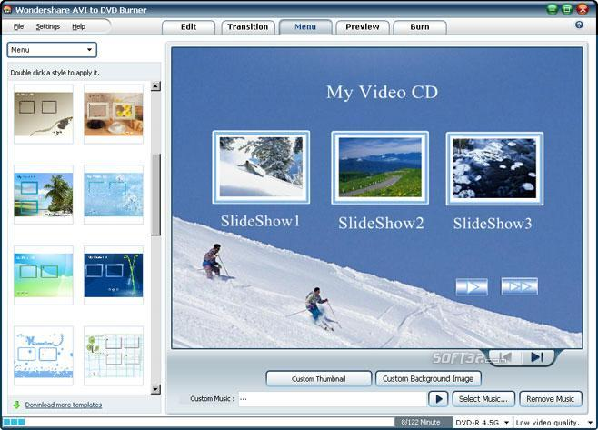 Wondershare AVI to DVD Burner Screenshot