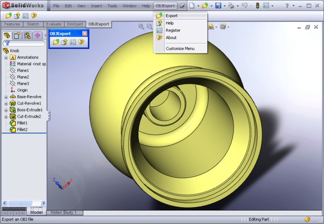 OBJ Export for SolidWorks Screenshot