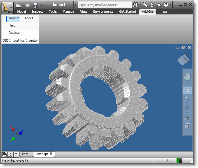 OBJ Import for Inventor Screenshot