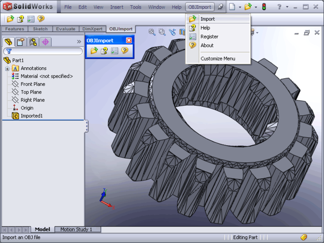 OBJ Import for SolidWorks Screenshot