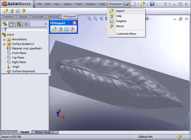 PIX Import for SolidWorks Screenshot 1