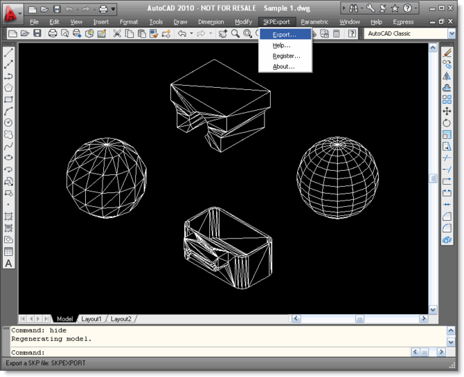 SKP Export for AutoCAD Screenshot 1