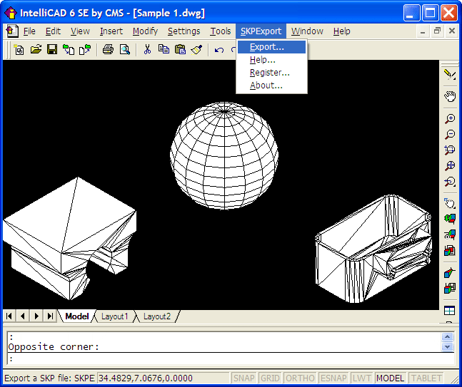 SKP Export for IntelliCAD Screenshot 1