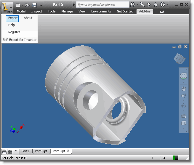 SKP Export for Inventor Screenshot 1