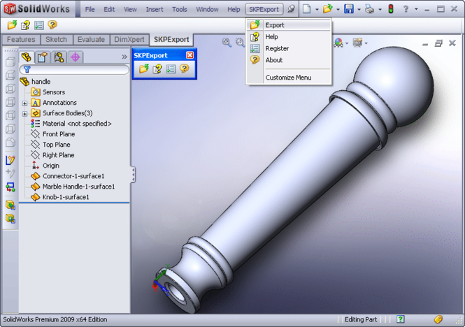 SKP Export for SolidWorks Screenshot