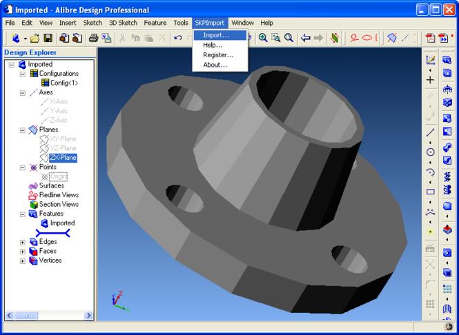 SKP Import for Alibre Design Screenshot