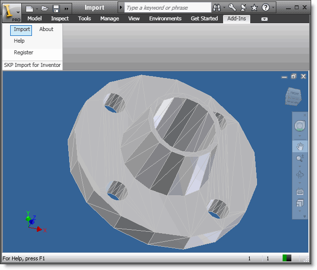 SKP Import for Inventor Screenshot