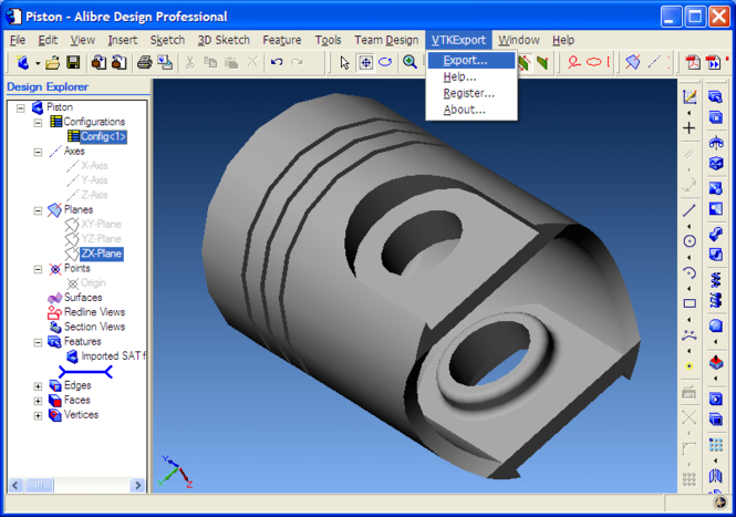 VTK Export for Alibre Design Screenshot 1