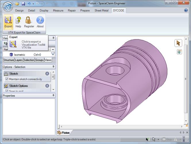 VTK Export for SpaceClaim Screenshot