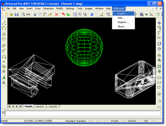 OBJ Export for Bricscad Screenshot