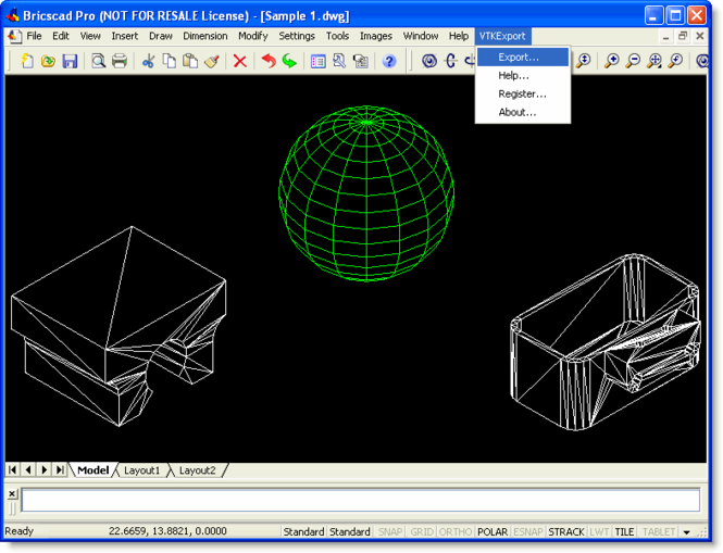 VTK Export for Bricscad Screenshot