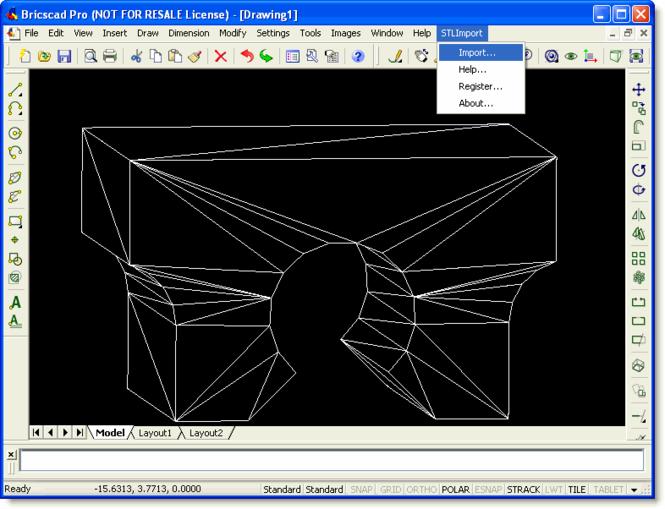 STL Import for Bricscad Screenshot