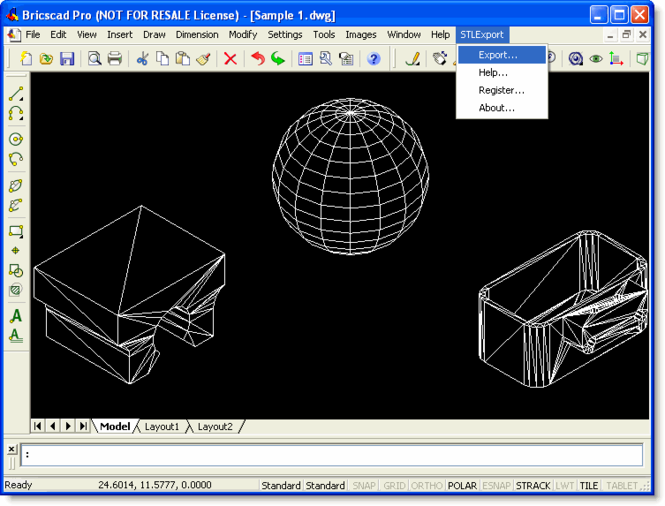 STL Export for Bricscad Screenshot
