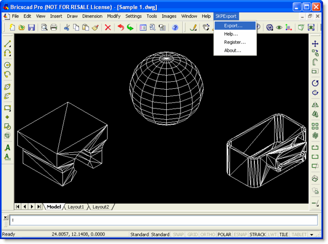 SKP Export for Bricscad Screenshot