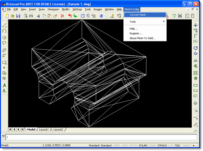 Mesh To Solid for Bricscad Screenshot