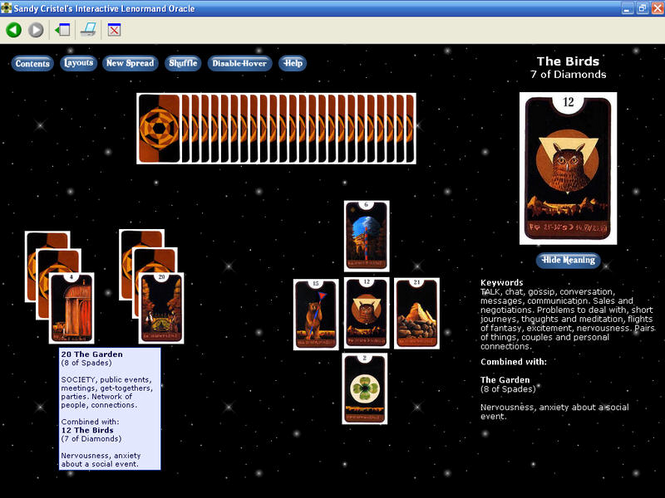 Sandy Cristel's Lenormand Oracle Screenshot