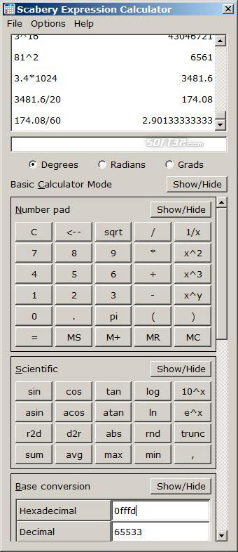Scabery Expression Calculator Screenshot 2
