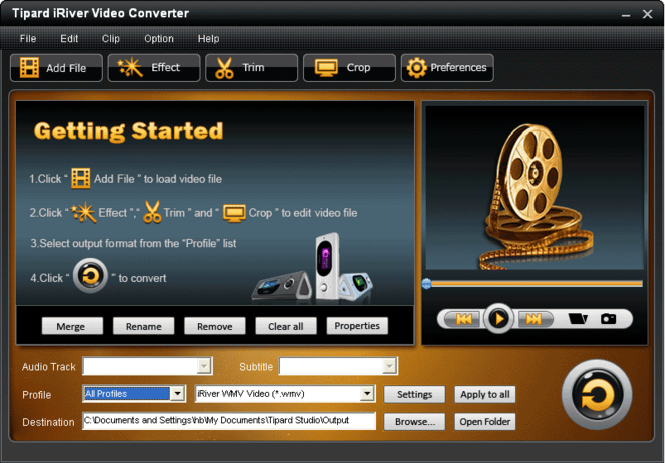 Tipard iRiver Video Converter Screenshot