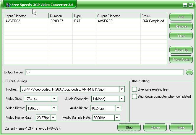 Free Speedy 3GP Video Converter Screenshot 1
