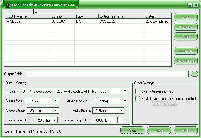 Free Speedy 3GP Video Converter Screenshot 2