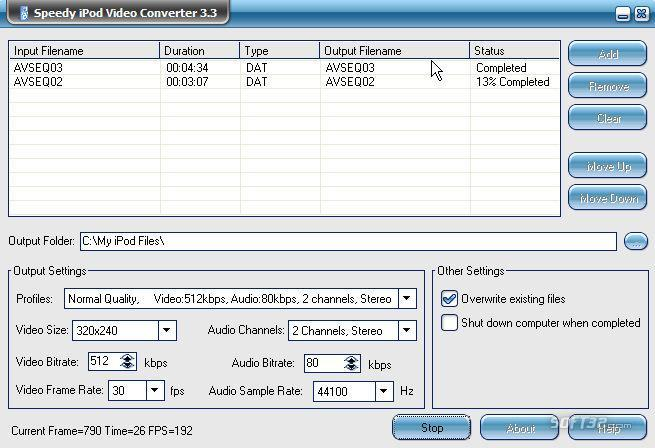 Free Speedy iPod Video Converter Screenshot 3