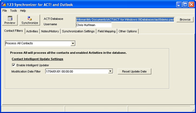 123 Synchronizer for ACT and Outlook Screenshot