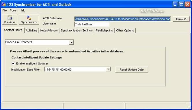 123 Synchronizer for ACT and Outlook Screenshot 4