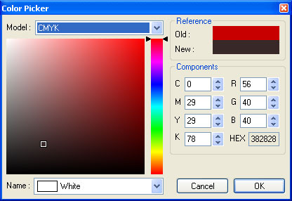 Red MiniBox Color Picker ActiveX Control Screenshot