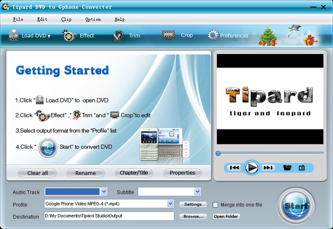 Tipard DVD to Gphone Converter Screenshot
