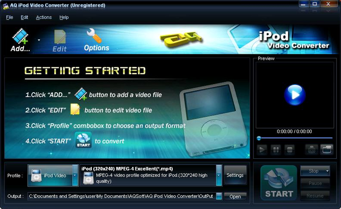 AQ iPod Video Converter Screenshot