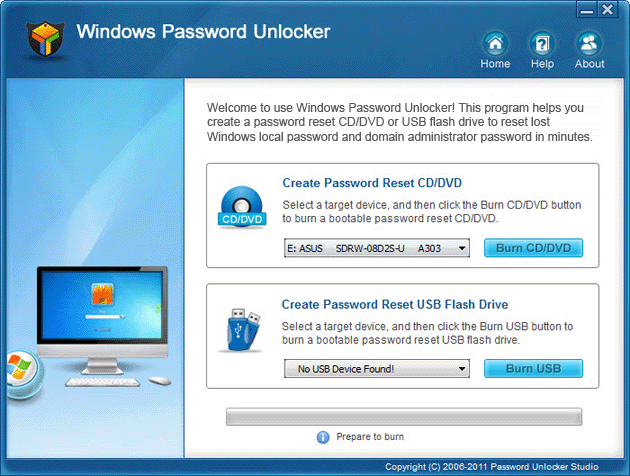 Windows Password Unlocker Screenshot
