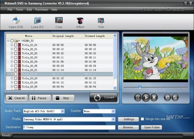 Nidesoft DVD to Samsung Converter Screenshot 3